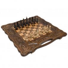 Шахматы + нарды резные «Антемион» 60 с ручкой, Haleyan