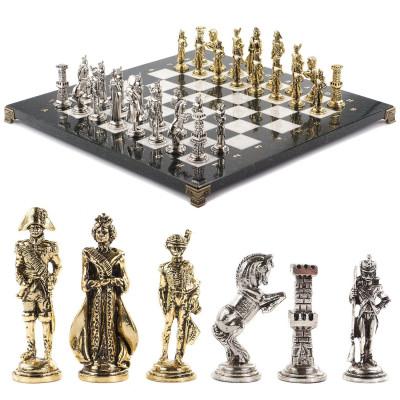 """Шахматы """"Отечественная война 1812 г."""" доска 40х40 см мрамор"""