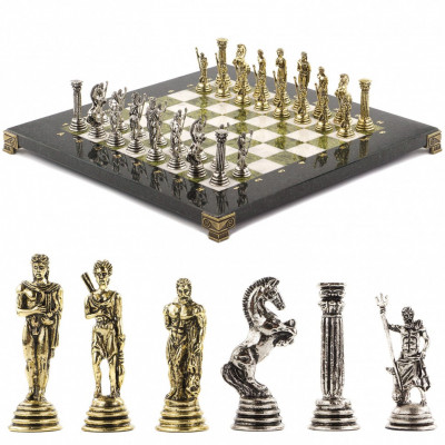 Шахматы подарочные Посейдон 32х32 см змеевик мрамор