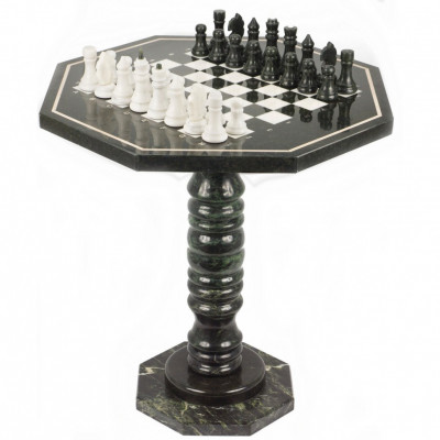 Шахматный стол мрамор змеевик