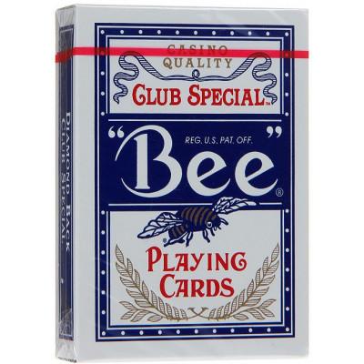 """Игральные карты """"Bee"""" с пчелой Джамбо индекс (синяя рубашка) 54 листа"""