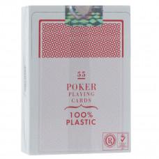 """Игральные карты Fournier """"2800"""" 100% пластик, джамбо индекс (красная рубашка) 54 листа"""