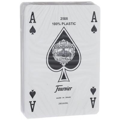 """Игральные карты Fournier """"2818"""" 100% пластик, джамбо индекс (оранжевая рубашка) 54 листа"""