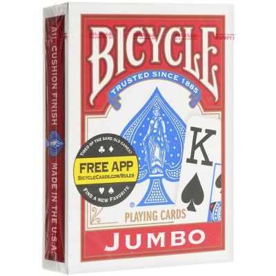 """Игральные карты Bicycle """"Jumbo"""" (красная рубашка) 54 листа"""
