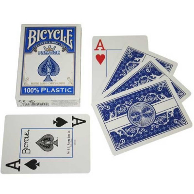 """Игральные карты Bicycle """"Prestige"""" 100% Пластик (синяя рубашка) 54 листа"""