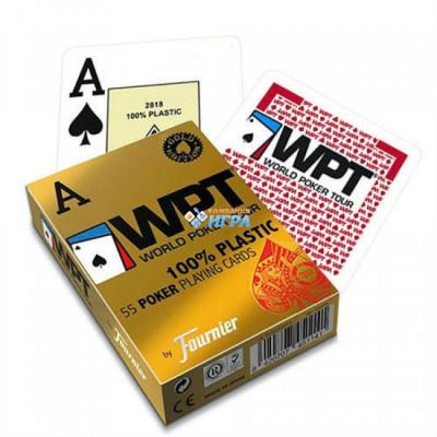 """Игральные карты Fournier """"WPT Gold"""" 100% Пластик  (красная рубашка) 54 листа"""
