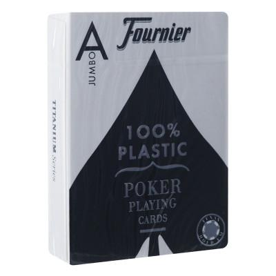 """Игральные карты Fournier """"2800"""" 100% пластик, джамбо индекс (черная рубашка) 54 листа"""