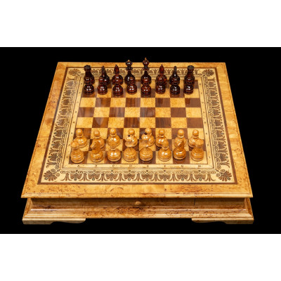 Шахматы Элеганс  (карельская береза)