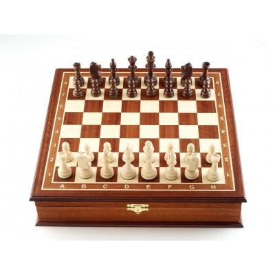 Шахматы ларец Рапид махагон средние