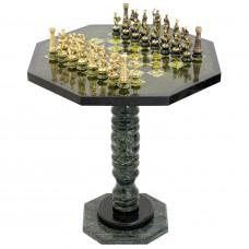 """Шахматный стол фигуры """"Римские"""" на подставках бронза змеевик"""