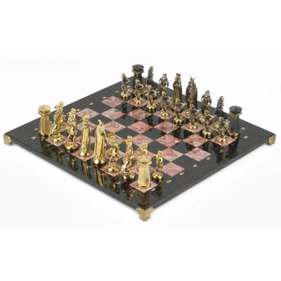 Шахматы Викинги бронза креноид змеевик 400х400 мм