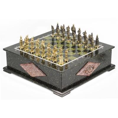 Шахматный ларец фигуры Русские змеевик 42х42х13 см 30 кг