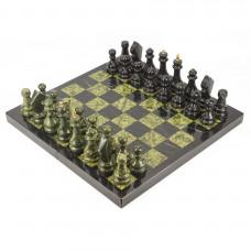 Шахматы, шашки, нарды 3 в 1 змеевик мрамор 440х440 мм