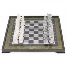 Шахматы Русские сказки змеевик мрамолит 470х470 мм