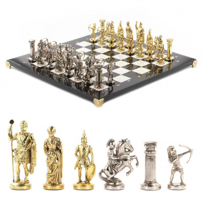 Шахматы Лучники 45х45 см черный змеевик мрамор металл