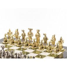 "Шахматы ""Средневековье"" доска 450х450 мм мрамор змеевик металл"