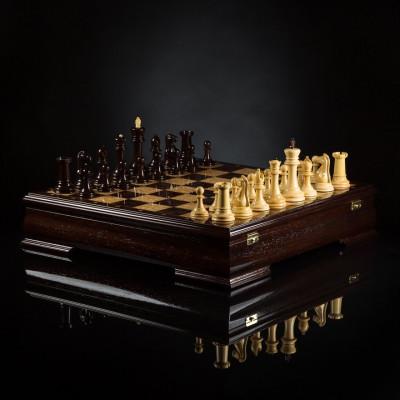 Шахматы Люксовые (венге/самшит)
