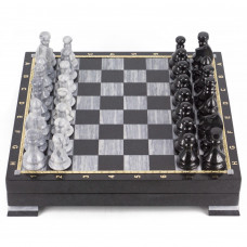Шахматный ларец мрамор змеевик 395х395х80 мм