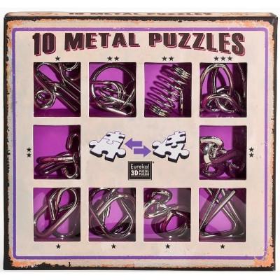 Набор из 10 металлических головоломок (фиолетовый)  10 Metal Puzzles purple set