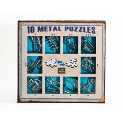Набор из 10 металлических головоломок (синий)  10 Metal Puzzles blue set
