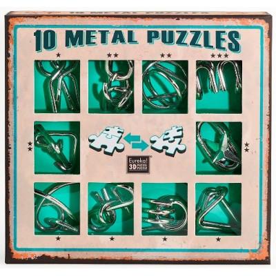 Набор из 10 металлических головоломок (зеленый)  10 Metal Puzzles green set