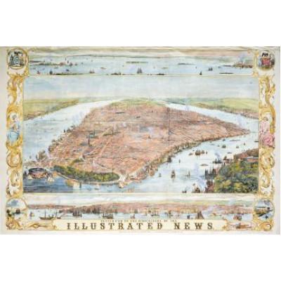 Пазл Карта Нью-Йорка 1853 год  (1000 элементов)