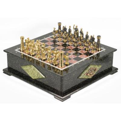 Шахматный ларец фигуры Римские змеевик 42х42х15 см 30 кг