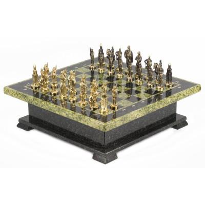 Шахматный ларец фигуры Русские змеевик 42х42х13 см 22 кг
