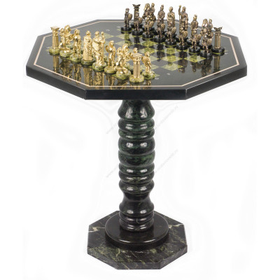 Шахматный стол фигуры Римляне бронза змеевик 60х60х62 см