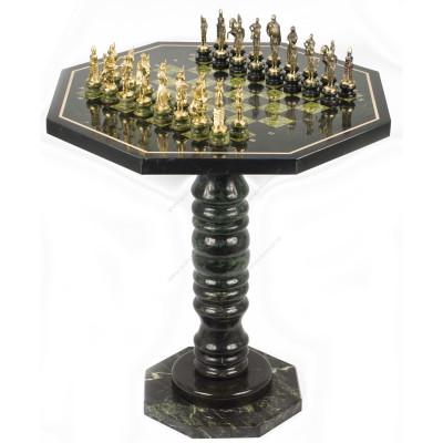 Шахматный стол фигуры Русские на подставках бронза змеевик 60х60х62 см
