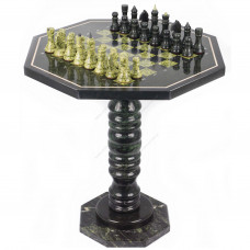Шахматный стол с каменными фигурами змеевик 60х60х62 см