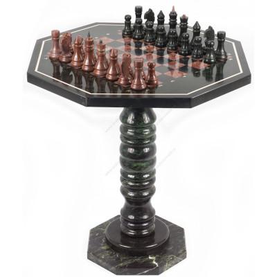 Шахматный стол с каменными фигурами змеевик лемезит 60х60х62 см