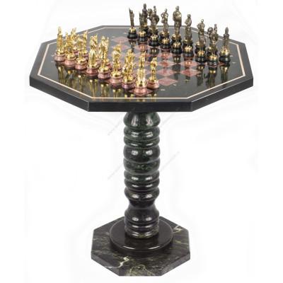 Шахматный стол фигуры Русские на подставках бронза лемезит 60х60х62 см