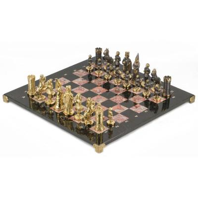 Шахматы Камелот бронза креноид змеевик 400х400 мм