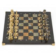 Шахматы Камелот бронза офиокальцит змеевик 40х40 см