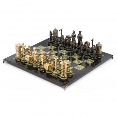 Шахматы Железнодорожники змеевик бронза