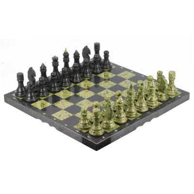 Шахматы камень змеевик доска 48х48 см