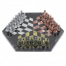 Шахматы на троих змеевик мрамор креноид