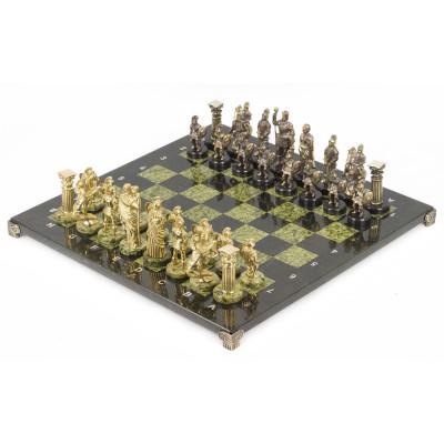 Шахматы Римляне доска змеевик 44х44 см
