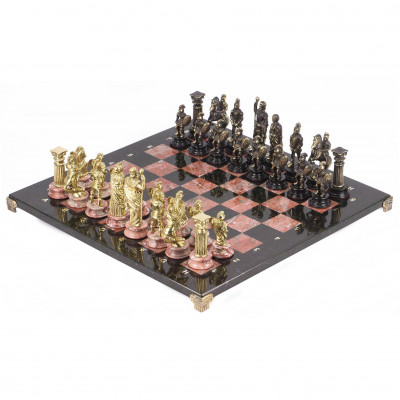 Шахматы Римляне доска змеевик креноид 44х44 см