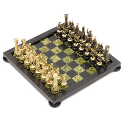 Шахматы Римские на подставках бронза змеевик