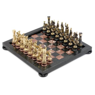 Шахматы Римские на подставках бронза змеевик креноид