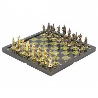 Шахматы Русские бронза змеевик 360х360 мм