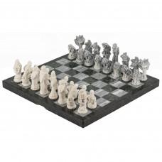 Шахматы Русские сказки змеевик фигуры литьевой мрамор 44х44 мм