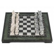 Шахматы Русские сказки змеевик фигуры литьевой мрамор 48х48 см