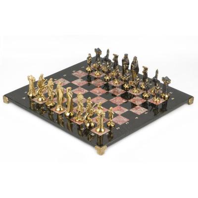 Шахматы Средневековье бронза креноид змеевик 40х40 см