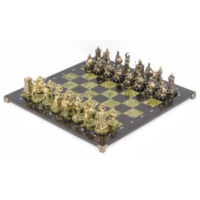 Шахматы Турецко-европейская война змеевик бронза 48х48 см