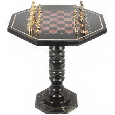 Шахматный стол фигуры Римские бронза лемезит 600х600х620 мм