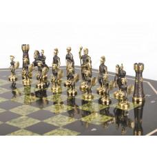 Шахматный стол фигуры Римские бронза змеевик 600х600х620 мм