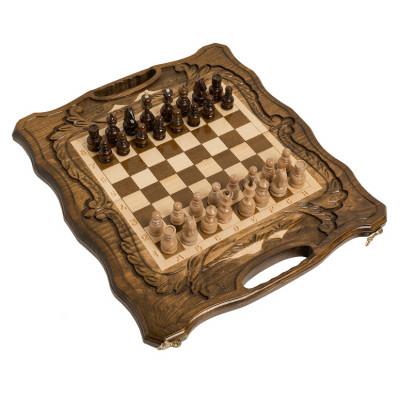 Шахматы + нарды резные c Араратом 40 с ручкой, Haleyan